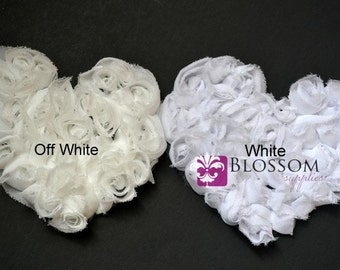 OFF WHITE Shabby Heart Applique - The Kate Heart Collection - Large Chiffon Rose Heart Appliques - Valentine's Day - diy Maternity Sash