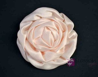 Set of 2 BLUSH Flowers - The Elizabeth Collection - Large Satin Ruffled Rolled Rossettes - U Pick Colors DIY Flower Headbands - Peachy Pink