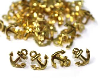 30 Marine Nautical Golden Anchor Buttons