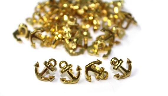 30 Marine Nautical Golden Anchor Buttons