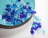 Mix of Blue and White Pressed Glass Beads - DESTASH