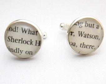 Sherlock & Watson Cufflinks, Sherlock Holmes Cufflinks, Book Jewellery, UK