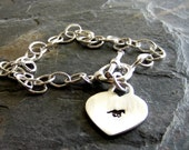 Sterling Silver Toggle bracelet- Hand Stamped Horse Bracelet-Equestrian Jewelry
