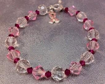 Breast Cancer Awareness Crystal Bracelet
