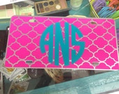 Quatrefoil Monogram license plate