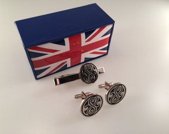 Doctor Who Inspired Seal of Rassilon Cuff Links and Tie Bar Gift Set