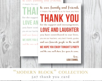Thank You Printed Card | Modern Block Card | Printable or Printed by Darby Cards