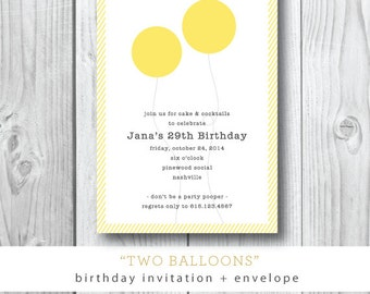 Two Balloons Invitations