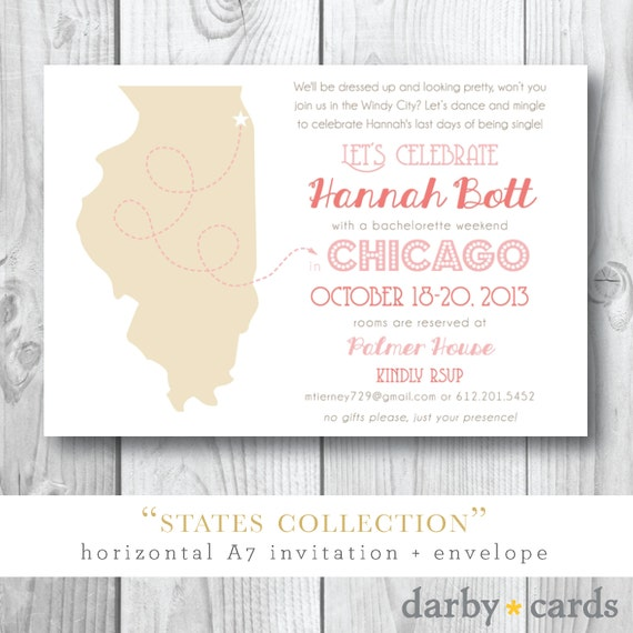 States Collection |  Bachelorette Party in Chicago | Printed or Printable by Darby Cards