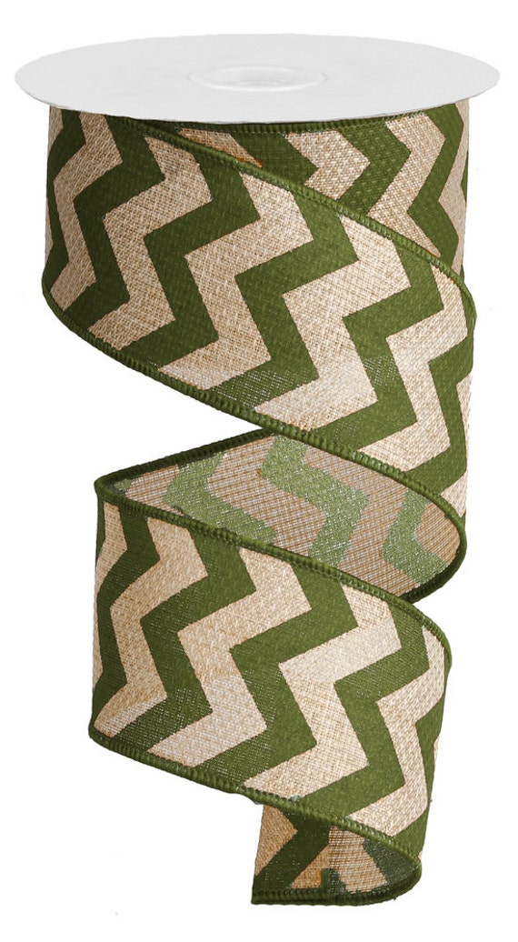 Moss green chevron faux burlap ribbon by creationsbysarajane for Green burlap ribbon
