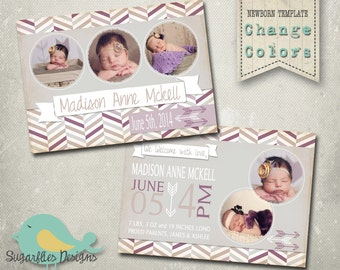 Baby Girl Announcement PHOTOSHOP TEMPLATE - Baby Girl 006