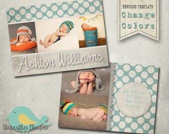 Newborn Baby Announcement PHOTOSHOP TEMPLATE - Baby Boy Polkadots