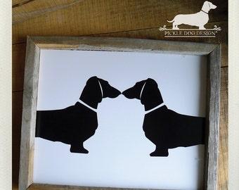 Doxie Love. Art Print -- (5x7, 8x10, Dog, Dachshund, Vintage-Style, Weiner Dog, Love Gift, Home Decor, Wall Art, Silhouette, Modern, Simple)