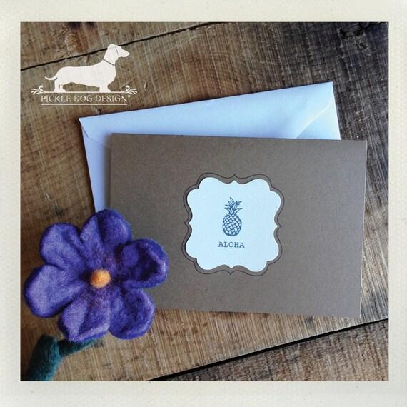 Aloha. Note Cards (Set of 8) -- (Hello, Hawaii, Simple, Vintage-Style, Brown Kraft Paper, Pineapple, Cute, Summer, Fruit, Rustic, Tropical)