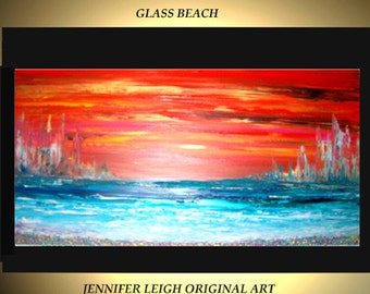 Original Large Abstract Painting Modern Contemporary Canvas Art Orange Yellow Blue GLASS BEACH 48x24 Palette Knife Texture Oil J.LEIGH