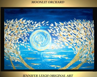 Original Large Abstract Painting Modern Contemporary Canvas Art Blue White Gold MOONLIT ORCHARD 36x24 Palette Knife Texture Oil J.LEIGH