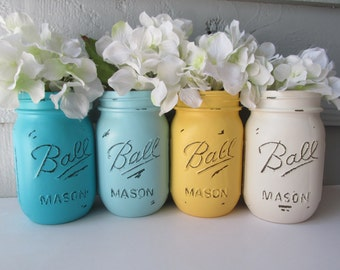 Painted and Distressed Ball Mason Jars- Light and Dark Turquoise, Yellow, Cream-Flower Vases, Rustic Wedding, Centerpieces