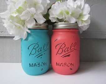 Painted and Distressed Ball Mason Jars- Medium Turquoise and Coral-Set of 2 Flower Vases, Rustic Wedding, Centerpieces