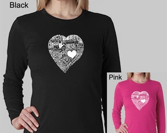 Women's Long Sleeve Shirt - Created using the word  Love in 44 Different Languages