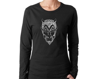 """Women's Long Sleeve T-Shirt - Created using different names for """"The Devil"""""""