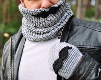 Moustache male set of cowl and gloves, grey, black, crochet, knit, autumn fall winter accessory for man, gift for teen, boy, christmas gift