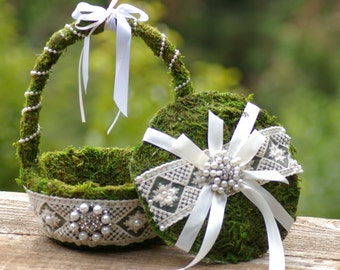 Ring Bearer Moss  Pillow Flower Girl Basket Brooch Shabby Chic