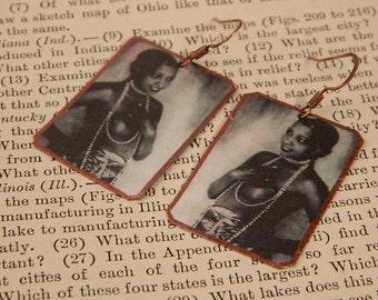 Josephine Baker earrings mixed media jewelry