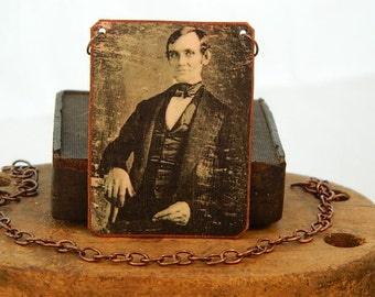Abraham Lincoln necklace Civil War jewelry mixed media jewelry