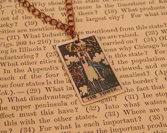 Tarot pendant tarot jewelry The Tower minimalist jewelry mixed media jewelry supernatural