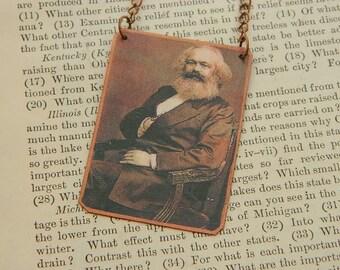 Karl Marx necklace philosopher jewelry mixed media jewelry