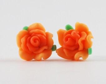 Orange Rose Earrings - Rose Post Earrings - Polymer Clay Rose Earrings