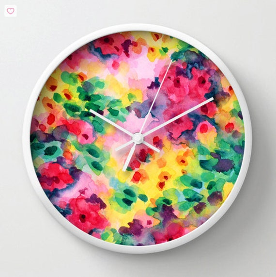 Items Similar To Watercolor Wall Clock, Modern Home Decor