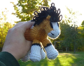 Storm: Mini Pony Baby Colt, Stuffed Horse, Spirit and Rain's Baby, Natural Waldorf Toy