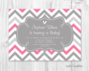 Baby shower hot pink and grey chevron printable invitation