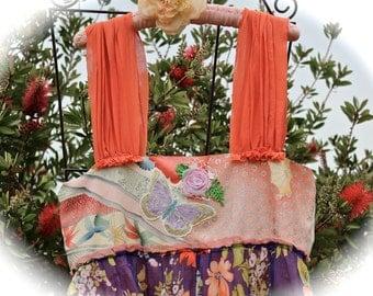 Scrumptious Orange Crush Purplishous Dress Vintage Kimono Hand Painteds Shabby Chic Gypsy Girl Mori Girl Flirty Girl