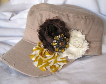 Cadet Military Distressed Khaki  Army Hat with Shabby Frayed Flowers and a Beautiful Mustard Amber Pendant Embellishment