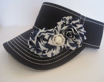 Golf Sun Visor Super Cute Navy White Stitched with Navy and White Striped Chiffon Flowers and Pearl and Rhinestone Accent Golf Accessories