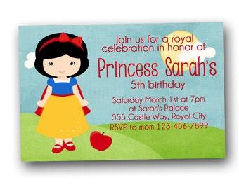 Snow White Birthday Invitation, princess invitation, digital file, printable