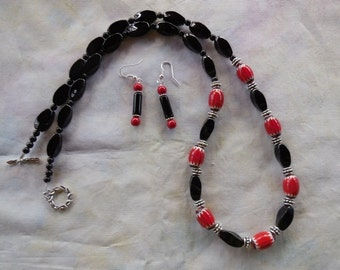 27 Inch Black Onyx Necklace with Red and Black Trade Beads, and Earrings