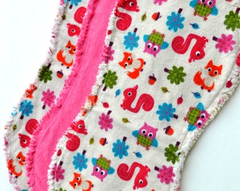 Baby girl burp cloth set of 3 : Flannel, Contoured, Baby burpcloths, Burp rags, burpclothes, burprags, owls, flowers, pink , squirrels, tree