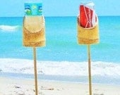 Set of 2 - Bamboo Drink Stakes for the Beach