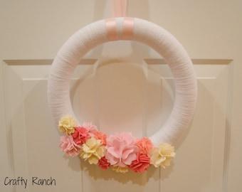 Spring Cherry Blossom Yarn Wreath - 14 inches