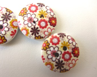 flowers brown red orange wood buttons Earth flowers red yellow brown wooden button 18 mm set of ten button byzantium nr 25