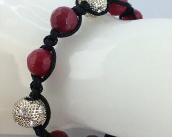 Red Disco Macrame Bracelet
