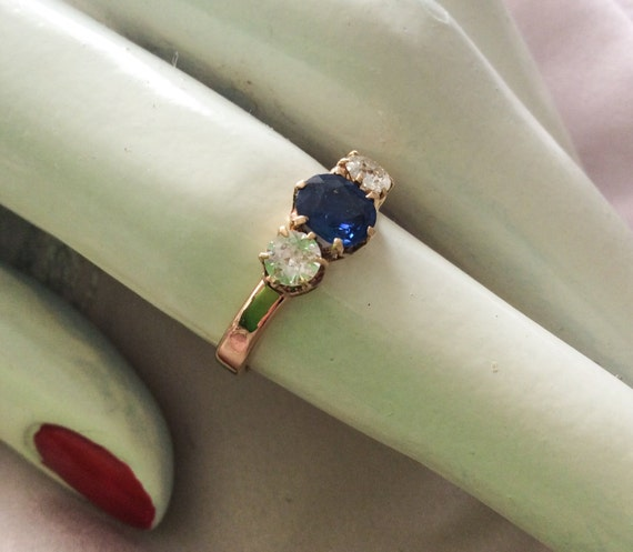 Art Deco 18K Gold Sapphire and Diamond Engagement RIng 1920s Vintage Jewelry