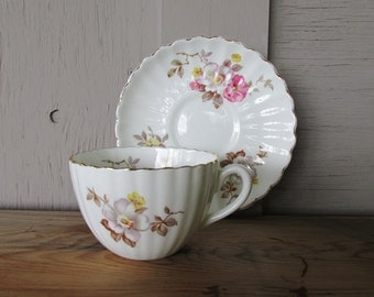 Vintage Radfords English bone china teacup and saucer with pink flowers Shabby Country Cottage Chic