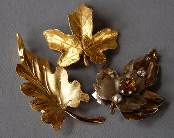 ON SALE 20% off - Vintage Leaf Brooch Collection Set of Three Gold Tone Rhinestone Monet Fall Jewelry 1960's // Vintage Costume Jewelry
