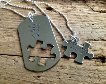 Puzzle Piece Necklace.  You Are My Missing Piece.  Custom Set of Two.  Couple Jewelry.  Dog tag and puzzle.