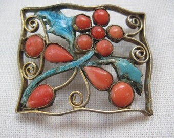 Gilt Coral and Enamel Brooch