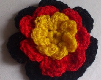Koori Rose Brooch, Koori Rose, Crochet Brooch, Crochet Flower Brooch, Australian Aboriginal Colours Brooch